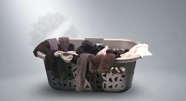 laundry basket of mens socks