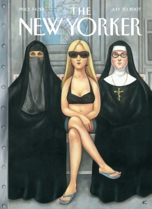 New Yorker, cover art, subway, women, religion