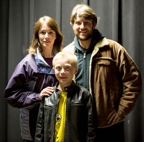 "Christina Rohling as ""Wendy,"" Marc Erickson as ""Jack"" and Christopher Levering as ""Danny"" in Stephen King's ""The Shining,"" A Play.  (c) 2014 Benson Theatre (Photo by Marc Longbrake)"