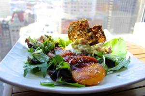 Crab Salad with grilled peaches and cranberry crostini
