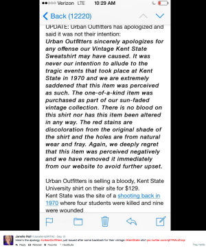 Urban Outfitters Apology