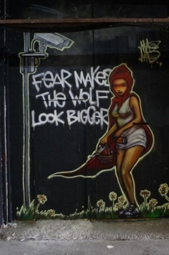 graffiti-fear makes the wolf look bigger