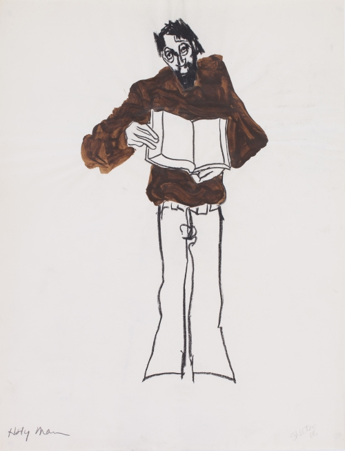 "Richard Shelton, Holy Man 6, 1968 26.5"" x 20"", acrylic, charcoal on paper"
