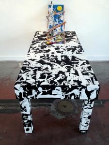 """Chris Lux: TableGuache, MDF, Enamel, Wax, Resin, Wood, Twine, Clay 75"""" x 32"""" x 28"""", 2012. Courtesy of The Popular Workshop."""