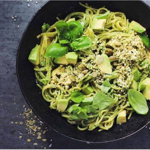 Quinoa pasta and basil pesto w avocado. #eatclean #whatveganseat #plantpowered #green