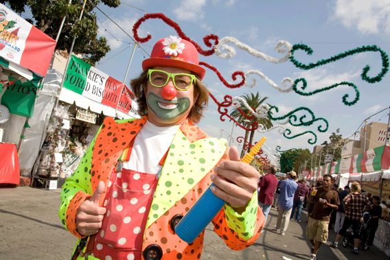 clown, St. Gennaro Festival, Italian festivals, Hollywood