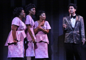 "Moya Angela, Jasmin Richardson, Brittney Johnson and David LaMarr star in ""Dreamgirls"" Photo: Michael Lamont reviews musicals marc wheeler"