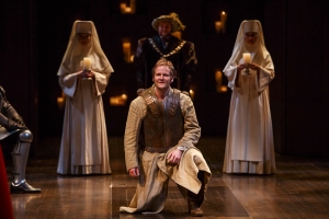 Evan Buliung (centre) as Pericles with members of the company in The Adventures of Pericles. Photography by David Hou.