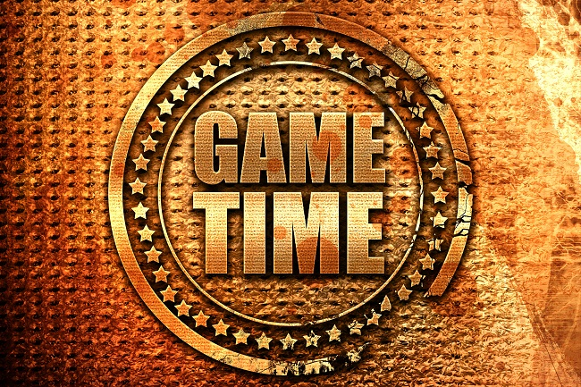 game time, 3D rendering, grunge metal text