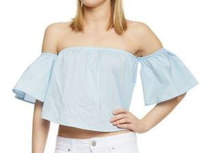 Rainbow Off Shoulder Ruffle Crop Top