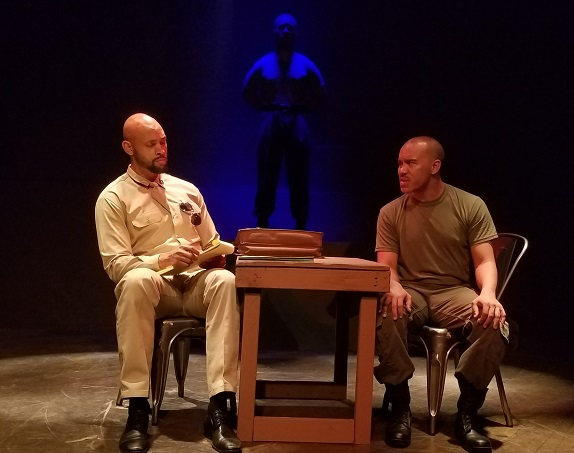 a soldiers play loft ensemble theater Rah Johnson as Cpt. Davenport, Tony Williams as Sgt. Waters and Chris Oliver as Pvt. Wilkie